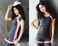 Wholesale Ladies Xxl Clothing - High quality Women's Fitness clothes sets Pro Sportswear GYM running Fitness ladies sports clothes high elastic T-shirts Quick-drying pants
