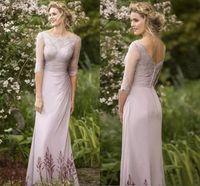 Wholesale Silk Bohemian Black Dress - Half Long Sleeves Lace Long Bridesmaid Dresses 2018 Bateau Sheath Floor Length Vintage Bohemian Maid of Honor Wedding Guest Gowns