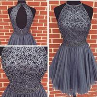 gerdansız elmas balo elbiseleri toptan satış-Kısa Gri Mezuniyet Elbiseleri Backless Diamonds Pileli Tül Kısa Gelinlik Modelleri Kızlar Parti Törenlerinde vestido curto Özel