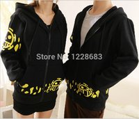 Wholesale one piece law costumes resale online - Hot Sale Japanese Anime Cosplay Clothes One Piece Trafalgar Law Cosplay Costume Black Trafalgar Law Hoodie Jackets Coat