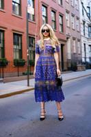 vestidos de crochê vintage venda por atacado-2019 manga curta nova chegada marca estilo lace crochet dress mulheres vestidos longo maxi tornozelo-comprimento dress moda pista azul