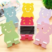 Wholesale Teddy Bear For Mobile - 2017 Hot Sales ! Limited Pink Red Yellow Blue White creative Mobile Phone Wooden Stander Cute Teddy Bear General Holder 6 Colors For Choose