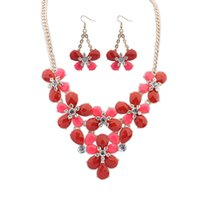 Wholesale Flowers New Generation - Fine Jewelry sets new diamond necklace and Pendant Earring Set Bohemia female flowers wholesale one generation