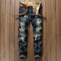 Atacado- American American High Street Fashion Men Jeans Retro Design Vintage Destroyed Ripped Jeans para homens Slim Blue Biker Jeans Pants