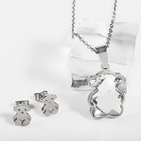 Wholesale Silver Earring Necklace Crystal Pendants - TL Stainless Steel Crystal Bear Jewelry Set Earrings Pendant Necklace 10 Colours High Quality Hot Selling