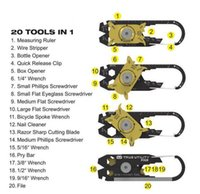 regla de bolsillo al por mayor-Fixr 20 en 1 Destornillador de acero inoxidable Llave Regla Llavero EDC Pocket Multi Tools Supervivencia Llavero Herramienta