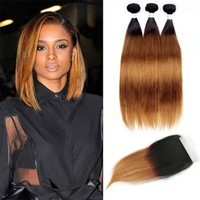 Wholesale straight dark root hair for sale - Straight Bundles with Lace Closure Free Middle Part T1B Dark Root Medium Auburn Ombre Human Hair Weave Colored Brazilian Cambodian Hair