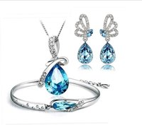 Wholesale Hot Austria Crystal Necklace Earrings Bracelet Jewelry sets Three Pieces Angel Tears Glass Shoe Jewellery Sets for New year