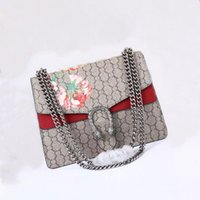 Wholesale Trends Casual Bag - New style 30cm ladies Dionysos casual fashion brand trend simple square cross section cover printing Floral Shoulder Bags handbag chain bags