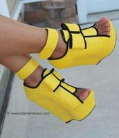sexy sandalias de vestir para mujer al por mayor-Kolnoo para mujer hecho a mano sandalias de tacón wadge hebilla de la correa peep-toe vestido de fiesta sexy boda zapatos de moda de tacón alto XD309
