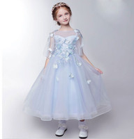 SSYFashion 2017 Neue frische Blumenmädchen Kleider Kinder Prinzessin Sweet Light Blue Lace Schmetterling mit Jacke Prom Lange Party Gown