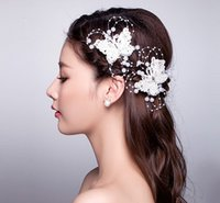 Wholesale Butterfly Lace Wedding Veil - Fashion Red & White Lace Hair Butterfly Hairpin Accessories 2017 Head Womens Handmade Crystal Hair Accessory Marriage wedding Bridal Veil