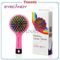 Wholesale Wholesale High Profit - EYECANDY Rainbow Volume S Hair Brush Eye Candy Detangling & Volumizing brushes with mirror Multi Colors High quality with Super good profit