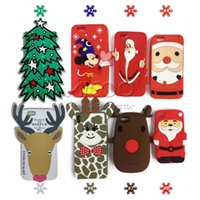 Wholesale Silicone Tree - Silicone Cute Elk Rudolph Christmas series Sisha Claus Mickey tree Phone Case for iPhone 8 7 6s 6 Plus cover Back
