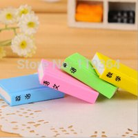 Wholesale Promotional Book - Wholesale-4pcs lot Candy color Book Shape Learn Chinese Eraser  Animals Novelty eraser   Rubber Eraser  For kids Gifts