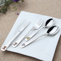 Wholesale Fancy Food Grade Stainless Steel Child Cutlery with Cute Animal Pattern Kid Cutlery Children Cutlery
