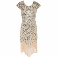 Wholesale diamond club dresses - Wholesale- Women 1920s Diamond Sequined Embellished Fringed Great Gatsby Flapper Dress Cap Sleeve Retro Midi Party Dress Ukraine Vestido