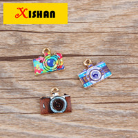 Wholesale Small Camera Necklaces - 20PCS   gold color retro color printing camera small pendant DIY hand necklace bracelet earrings accessories