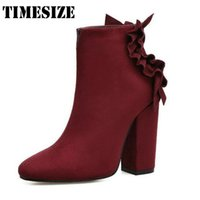 Winter Women Ankle Short Boots Moda Square Heel Round Toe Boots Voltar Butterfly-knot High Heel Shoes Martin Boots