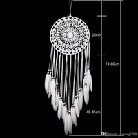 Wholesale Wholesale Antique Lace - 2017 New White Lace Flower Dreamcatcher Wind Chimes Indian Style Feather Pendant Dream Catcher Creative Car Hanging Decoration
