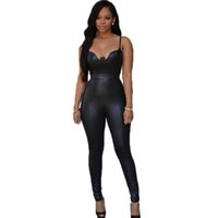 Wholesale Leather Jumpsuit Wholesale - Wholesale- RW80281 Black Pink Full Length Jumpsuit Long New Fashion Bodycon Jumpsuit Hot Tight-Fitting Open Back Faux Leather sexy jumpsuit
