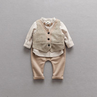 Wholesale Baby Waistcoat Outfit - New Boys Kids Clothes stripe Shirt+waistcoat+trousers 3pcs set kids boutique outfits Baby Suit Newborn Outfits Baby Boy Clothing sets A1226