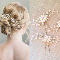 Wholesale Korean Jewelry Pearls - Fashion handmade jewelry bridal hairpins for women and girls new korean rhinestone pearl wedding hair accessories