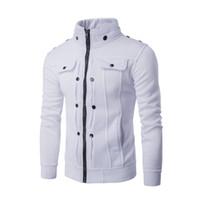 Wholesale Button Favors - Wholesale-Men's new hot personality favors nail fold button zipper design fleece jacket overalls sportswear uniformsWhite gray black brown