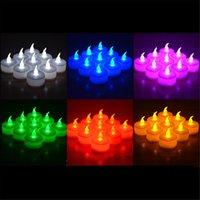 Wholesale Tea Light Candles Colors - 3.5*4.5cm Battery operated Flicker Flameless LED Tealight Tea Candles Light Wedding Birthday Party Christmas Decoration 5 colors to choose