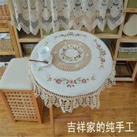 Wholesale 2017 new arrival high quality ribbon embroidery tablecloth with crochet border table cover for home decoration