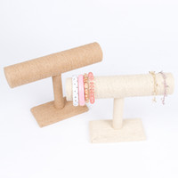 Wholesale Display Stands Headband - 1Pc Light Brown Beige Linen Line Flax Burlap Bracelet Bangle Headband Watch T-Bar Display Stand Holder Rack New Arrival