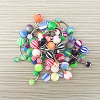 Wholesale Tongue Rings For Men - New Arrival Candy Color Navel Piercing Stainless Steel Tongue Rings For Women Men Fashion Navel Belly Bar Button Rings Body Jewelry Gifts