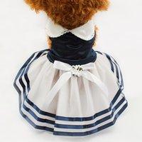 hund kleidung streifen großhandel-Armi Shop Tutu Spitze Sailor Dog Kleider Streifen Rock für Hunde Kleid 6071012 Pet Princess Kleidung Großhandel