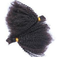 trenzado rizado de 26 pulgadas al por mayor-Cabello humano rizado mongol afro rizado a granel para trenzar extensiones de cabello rizado rizado rizado 2pcs 3pcs color natural 12-30 pulgadas
