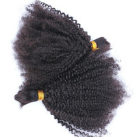 Wholesale human hair kinky curly bulk extensions online - Mongolian Afro Kinky Curly Human Hair Bulk For Braiding Kinky Curly Hair Bulk Extensions Natural Color inch