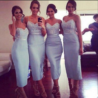 Wholesale Light Blue Dresses For Weddings - Light Sky Blue Spaghetti Bridesmaid Dresses For Wedding Tea Length Sheath Maid Of Honor Gowns Cheap Custom Made Cheap Bridesmaid Gowns
