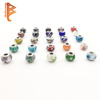 Wholesale Sterling Silver Loose Beads - BELAWANG Wholesale 50Pcs lot Newest Loose Beads 925 Sterling Silver Murano Glass Charm Beads For Pandora Original Bracelet Jewelry Making