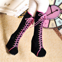 Wholesale Goth Wedge Shoes - Wholesale- 2015 New Ladies Punk Rock Goth Women High Platform Wedge Heels Faux Suede Lace Up Fahsion Knee High Boots Creepers Shoes