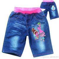 ropa de girs al por mayor-Nuevos Jeans de verano para Girs Trolls Pantalones cortos de mezclilla Ropa infantil Pantalones Canvas azules Niños Casual Les jean shorts