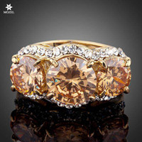 Wholesale 3pcs Fashion Ring Sets - Wholesale Women Fashion Jewelry Sparkling Gold Plated 3pcs Gold Colour Stellux Austrian Crystal Ring Free Shipping TR0081