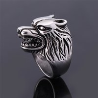 Atacado- 2016 Moda Rings Lobo Para Homens Retro Rock Punk Rings Masculino Animal Cool Biker Jóias Anillo Hombre