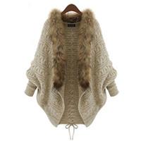 ingrosso lana a ponte-Moda - Donna Inverno Cardigan spessa Poncho Capes Pull Femme Autunno Brand Fashion maglia di lana collo collo maglione lana manica manica cappotto