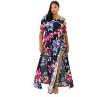 Wholesale Elegant Big Size Dress - M-3XL Big Plus Size Off Shoulder Maxi Dress 2017 New Floral Printed Elegant Women Vintage Sexy Dresses Autumn Long Dress S3074