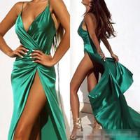 ingrosso vestito pieno verde scuro-Abiti da ballo sexy verde scuro 2019 Halter Neck Full Length High Side Split Abiti da sera convenzionali Abiti da festa Realizzati per la vendita DTJ
