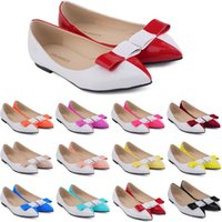 Zapatos De Mujer Donne Donne Faux Leather Patent Flats Dolly Ballet Scarpe Bow We Size Scarpe Flat Donne 4-11 D0068