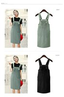 Wholesale Overall Dress Girl - 2017 new arrival summer Fashion Girl Denim skirt Rompers Strap Pockets Frayed Ripped Holes Overalls Rompers Womens Jumpsuit Short dress
