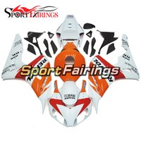 Wholesale Orange White Motorcycle Fairings - Complete Orange White Plastic Fairings For Honda CBR1000RR 06 07 CBR1000 RR 2006 2007 Injection ABS Motorcycle Bodywork Cover New Cowling