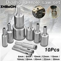 mermer döşeme toptan satış-XNEMON 10 Adet Elmas Holesaw 6-30mm Çekirdek Matkap Ucu Porselen Karo Cam Slate Mermer için Set 6 8 10 12 15 16 18 20 22 30mm