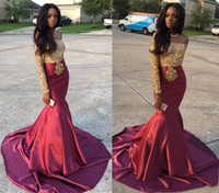 Wholesale Trumpet Mermaid Strapless Taffeta - New Arrival Sexy Strapless Gold Appliques Mermaid Prom Dresses 2017 Off the Shoulder Burgundy Dresses Evening Wear Cheap Black Girls Party
