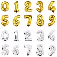 Wholesale Party Happy Birthday - 1PC 16 inch Gold Silver Number Foil Balloons Kids Party Decoration Happy Birthday Wedding Ballon Globos Number Children's gifts